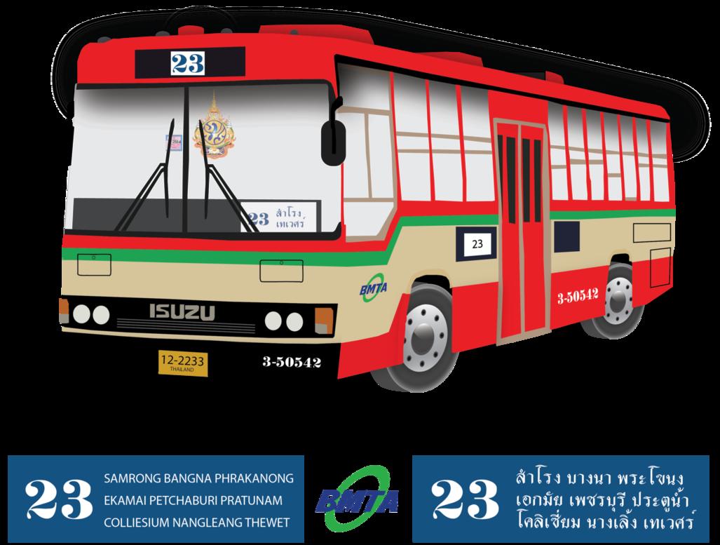 clip freeuse stock Vector bus illustrator. Bmta isuzu cream red