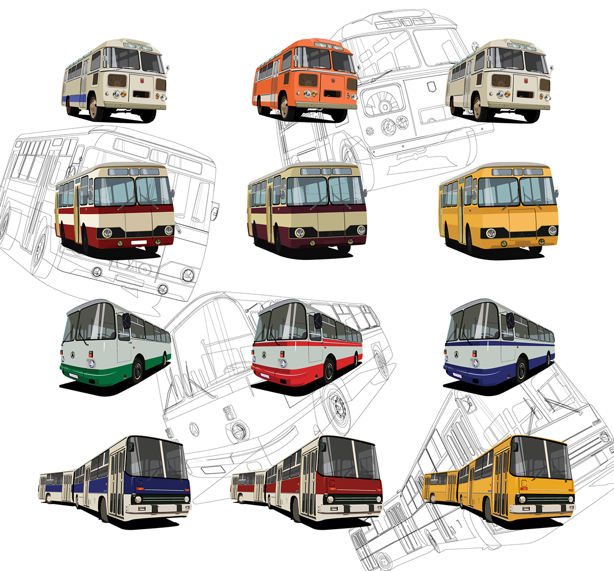 clipart royalty free library Vector bus illustrator. Ussr buses on behance