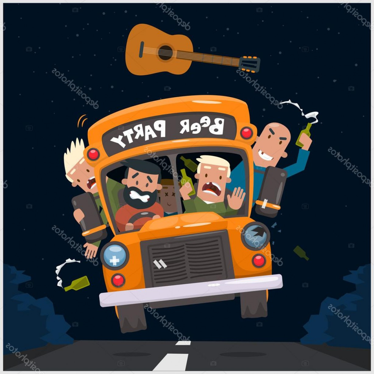 png royalty free library Vector bus party. Stock illustration beer poster