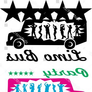 graphic royalty free library Vector bus party. Limousine silhouette logo dancing