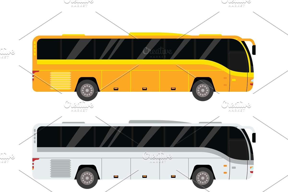 picture black and white library City set illustrations creative. Vector bus public