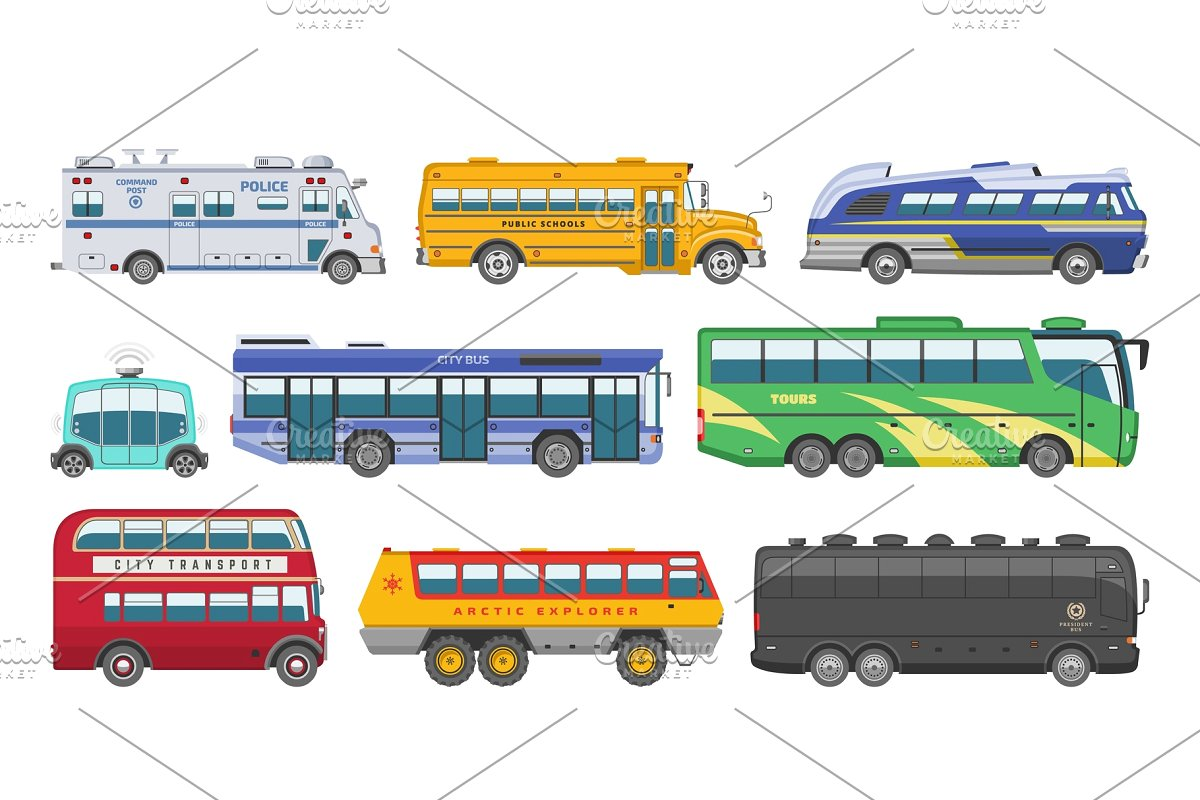 picture freeuse stock Vector bus public. Transport tour or
