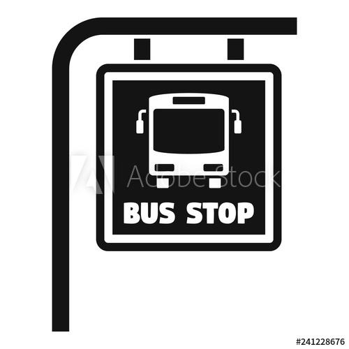 transparent stock Vector bus simple. Stop sign icon illustration