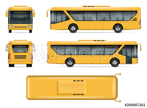 graphic freeuse stock School mock up isolated. Vector bus top view