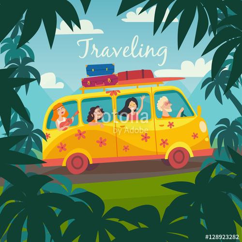vector black and white download Vector bus tourism. Summer trip illustration surfing