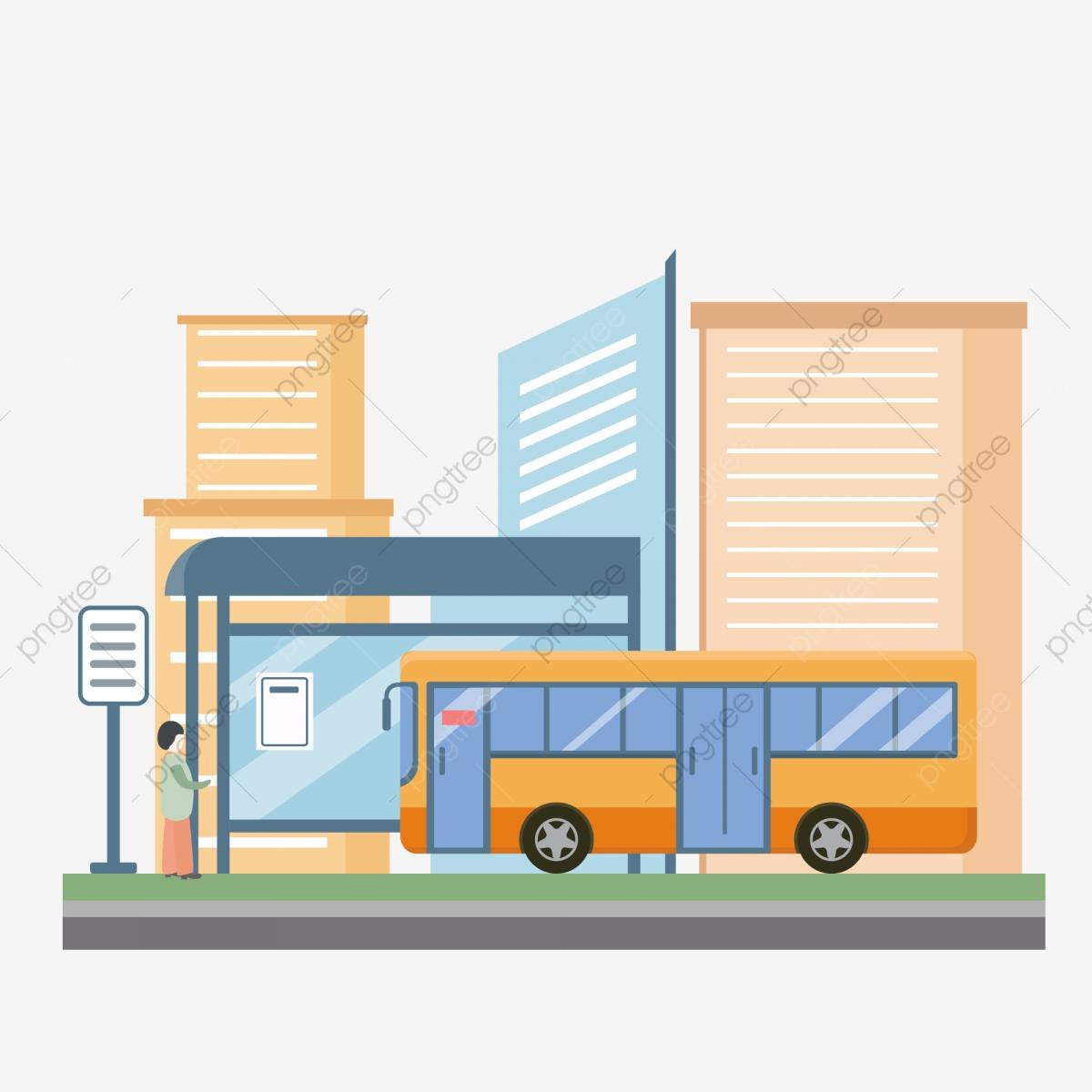 clipart library stock Vector bus transport. Stop city transportation platform