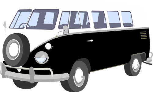 clip library stock Hippy van s sixties. Vector bus vintage