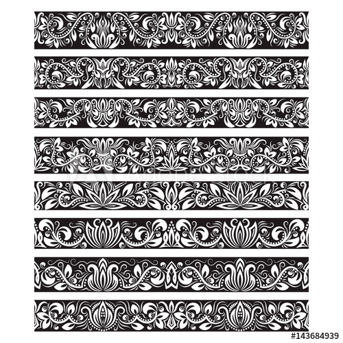 clip free library Vintage elements for brushes. Vector bushes black and white
