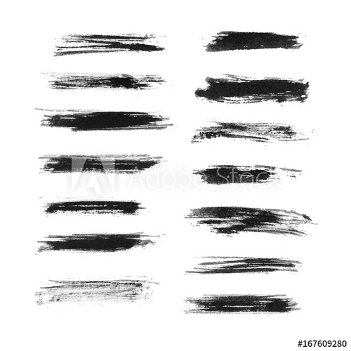 transparent Vector bushes black and white. Set of brushes color