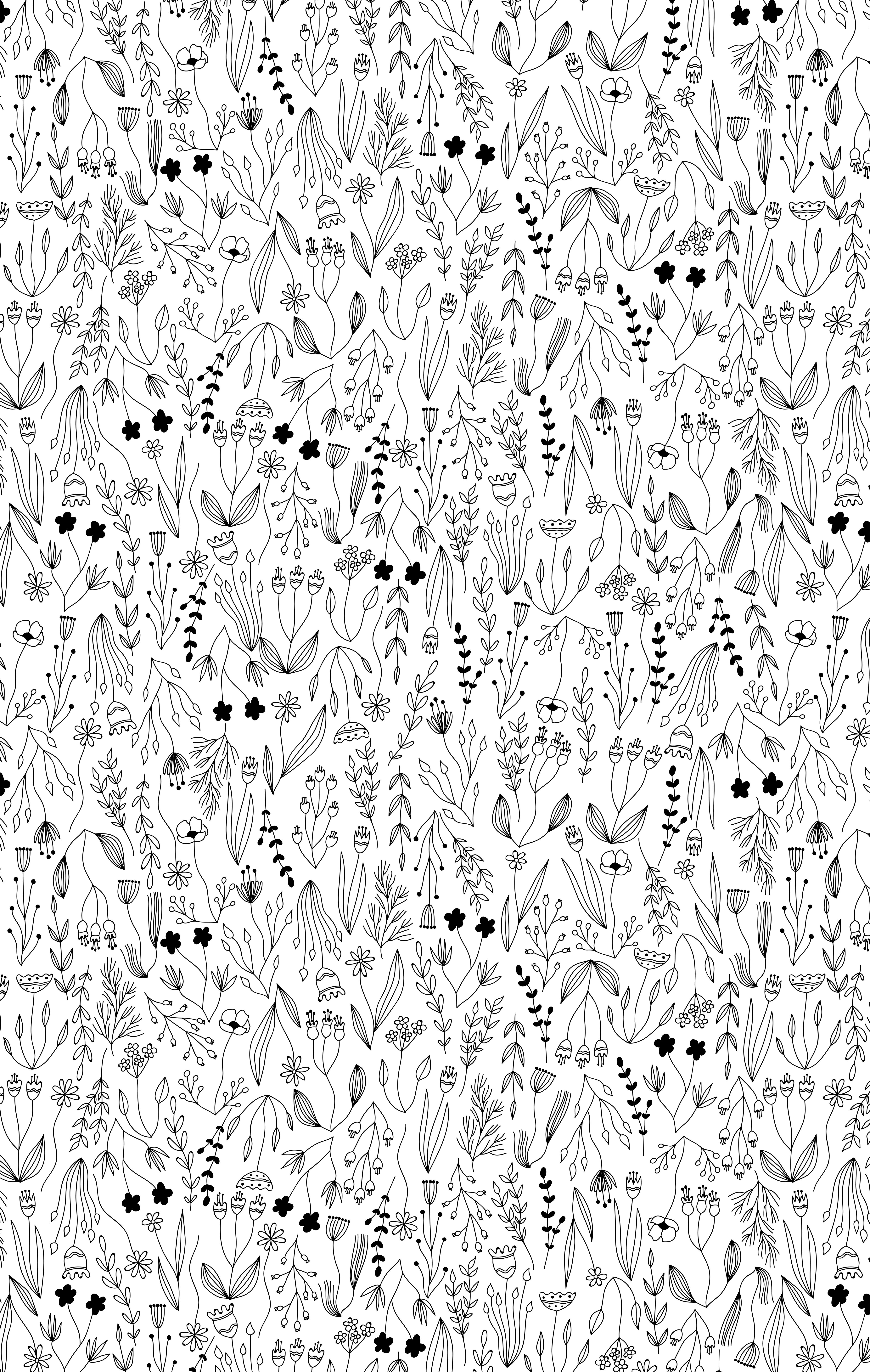 jpg freeuse download Botanical seamless pattern with. Vector bushes black and white
