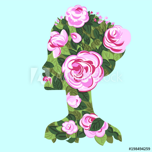 clip art library stock Vector bushes roses. Woman profile with bush