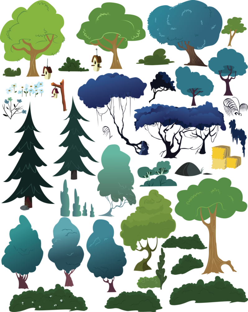 clip transparent Trees and such by. Vector bushes tree