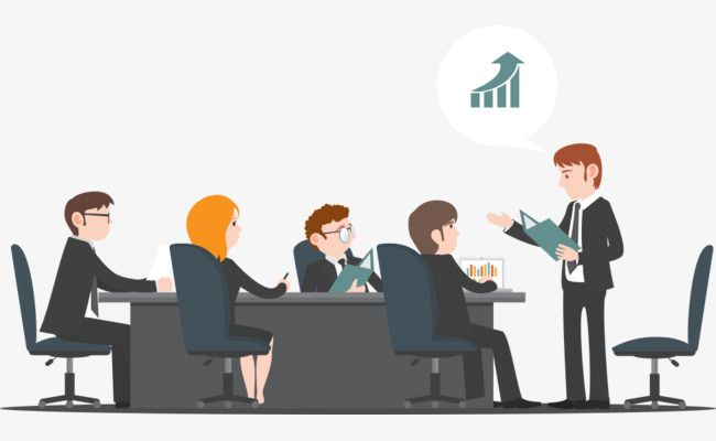 clipart royalty free library Meetings room office character. Vector business meeting