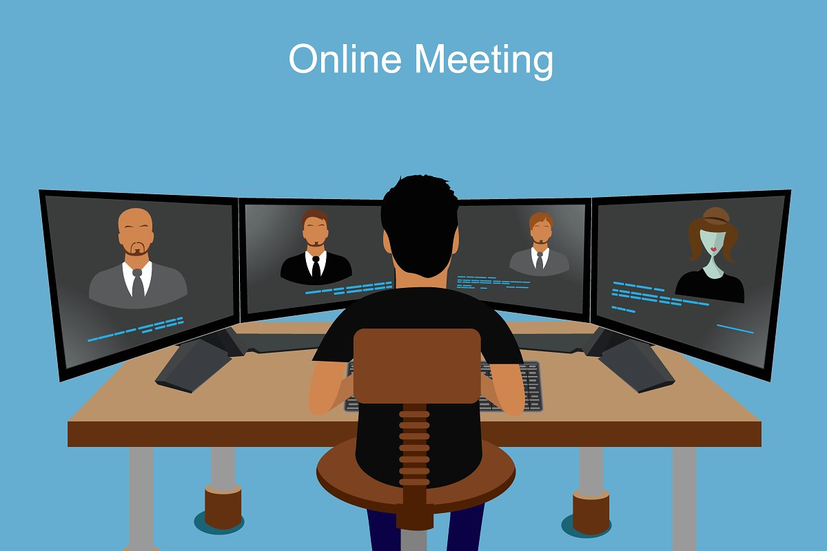 banner library Vector business meeting. Online