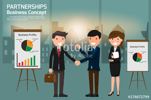 image library Vector business partner. Smiling cooperation handshake of
