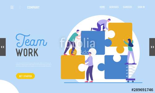 banner freeuse stock Teamwork landing page template. Vector business puzzle