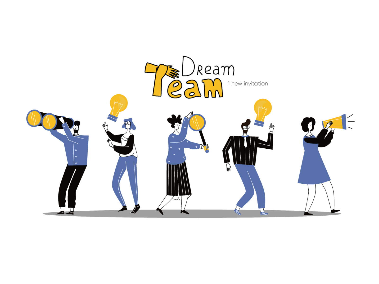 image library Illustration dream team work. Vector business success