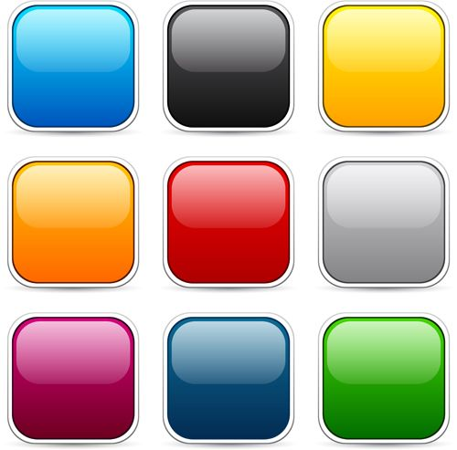 jpg freeuse library Icons colored set internet. Vector button app