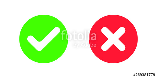 image stock Icons yes and no. Vector button cross