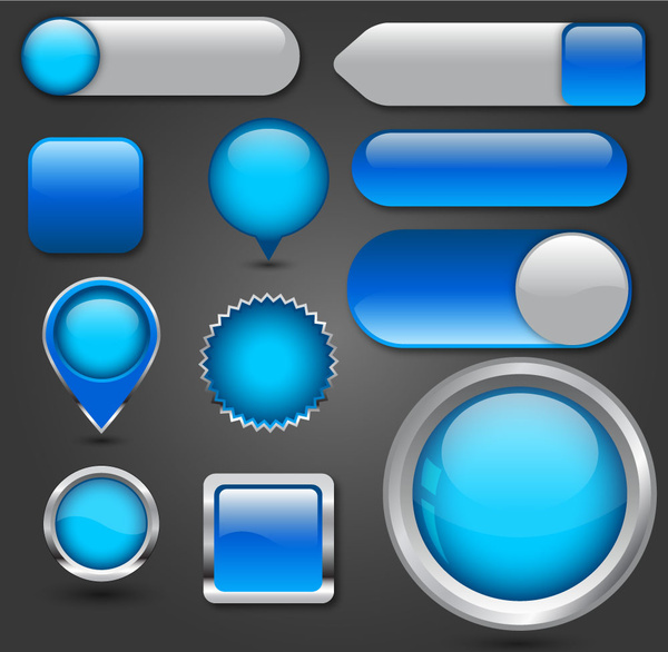 clip art free download Vector button digital. Blue multishaped buttons collection