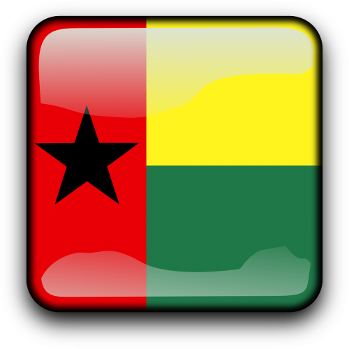 clipart transparent library Guinea bissau flag country. Vector button square