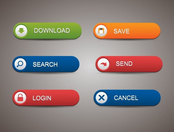 picture royalty free library Vector button web page. Webpage buttons collection rounded
