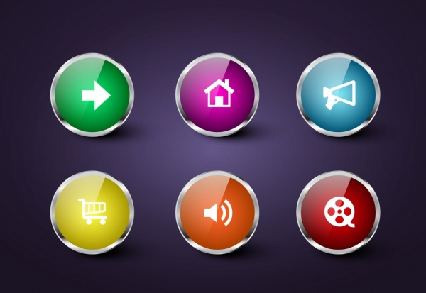 clip stock Vector button web page. Webpage icons shiny multicolors