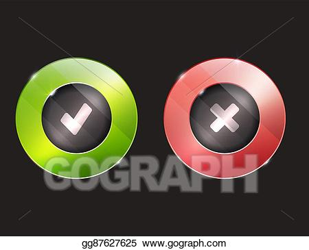 clipart transparent stock Vector buttons cross. Clipart yes no tick