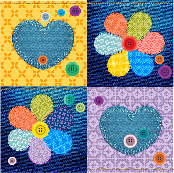 clip free Vector buttons flower. Jeans material decoration with