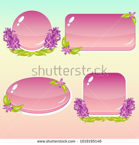 clip art freeuse library Cartoon with flowers and. Vector buttons flower