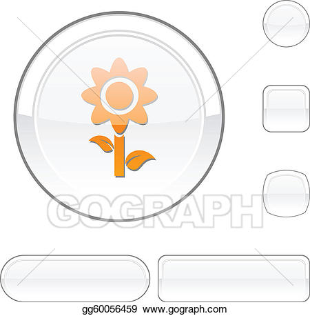 vector transparent library Vector buttons flower. Eps white button stock