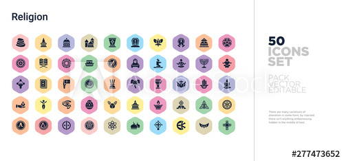 banner black and white library Vector buttons hexagon.  religion icons set