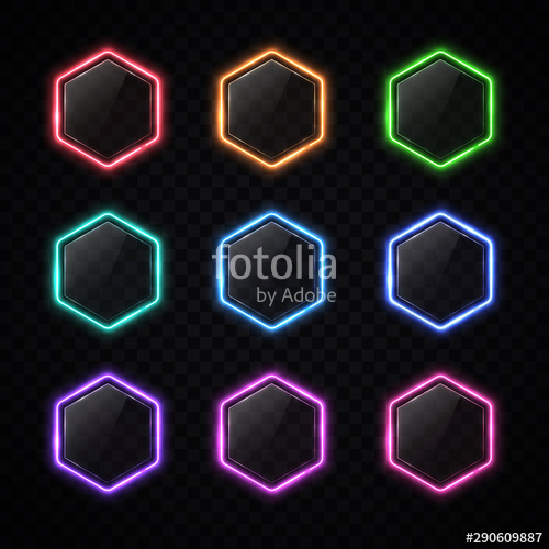 image library download Vector buttons hexagon. Modern neon frame set