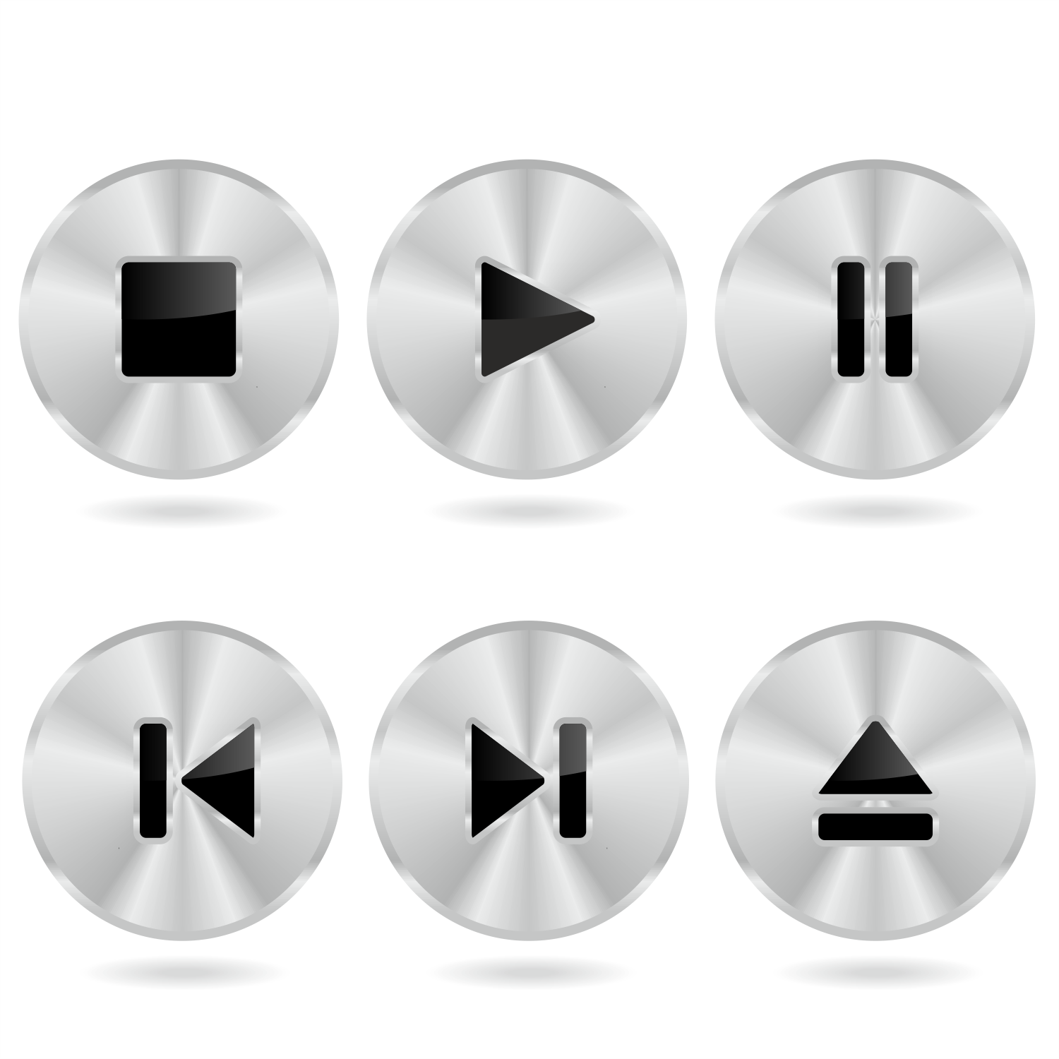 picture stock For free use player. Vector buttons metal