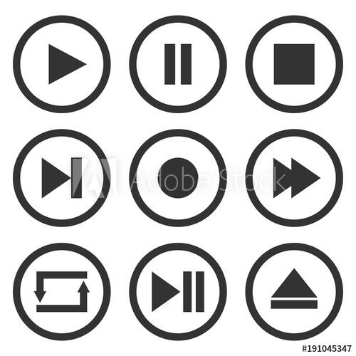 clip art transparent Vector buttons record. Media player control set
