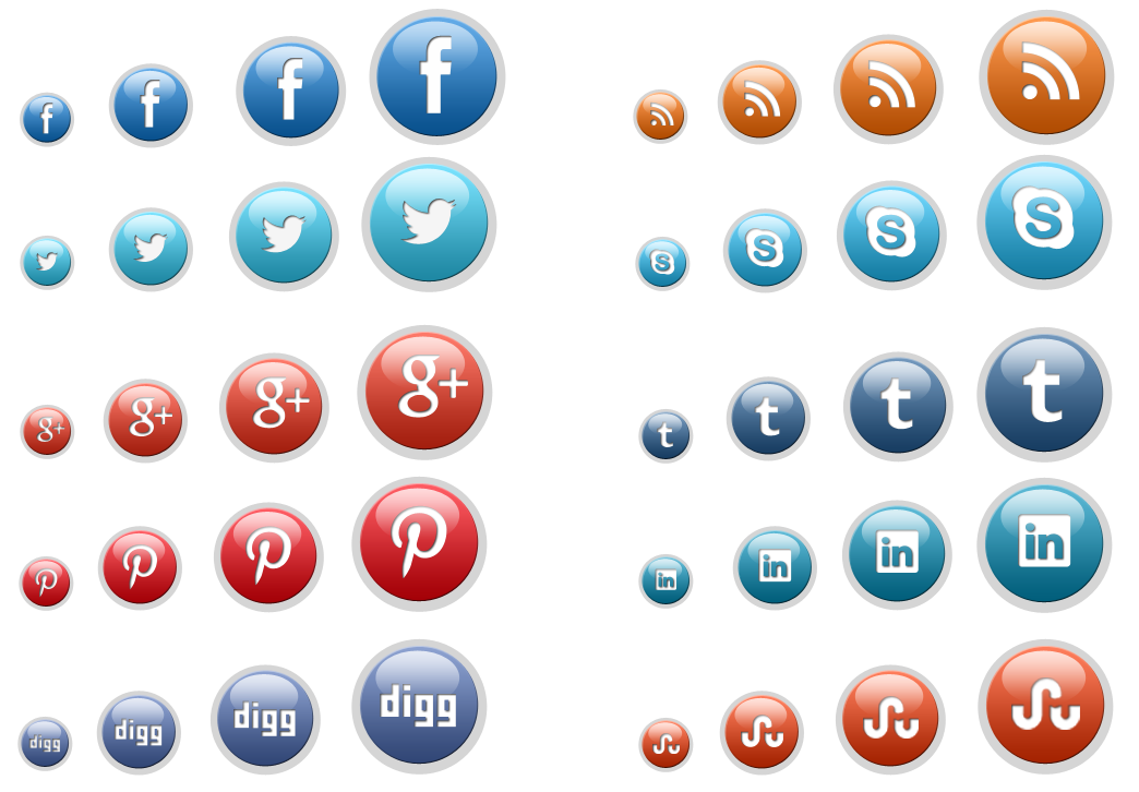 image transparent download Commonly used icons and. Vector buttons social media