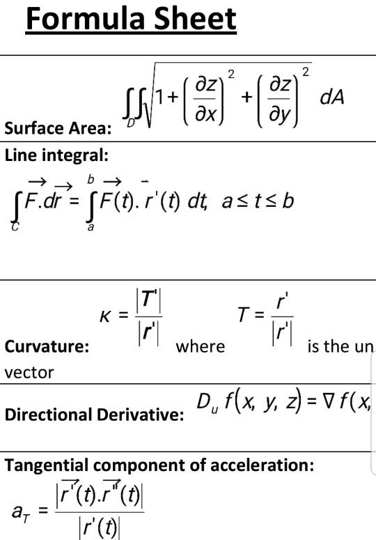 jpg freeuse download Formula sheet mass x. Vector calc normal