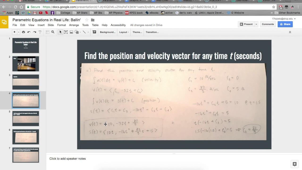 free stock Bc parametric equations in. Vector calc real life