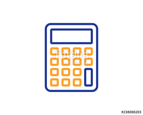 clip black and white library Line icon accounting sign. Vector calculation calculator