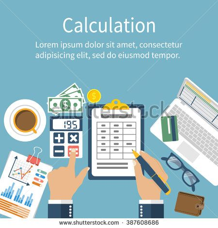 picture stock Vector calculation financial. Concept businessman accountant flat