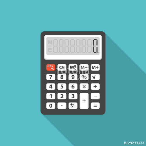 clip art free Vector calculation flat. Calculator icon with long