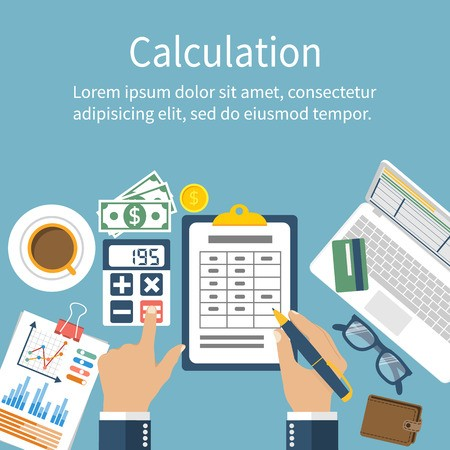 banner black and white download Concept businessman accountant design. Vector calculation flat