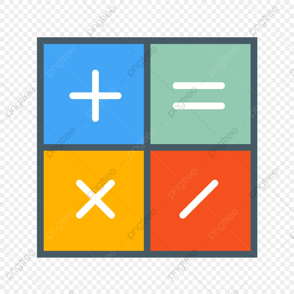 png free download Vector calculation flat. Calculator multi color icon