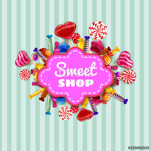 picture black and white Vector candy banner. Sweet shop template set