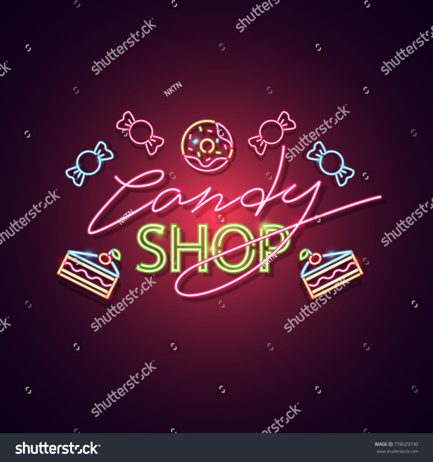clip Shop neon sign bright. Vector candy banner