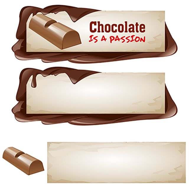 clipart transparent Set of chocolate banners. Vector candy banner