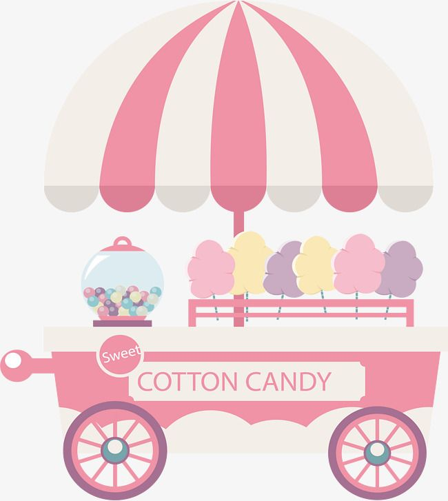 clip freeuse stock Pink cotton cart bar. Vector candy cute