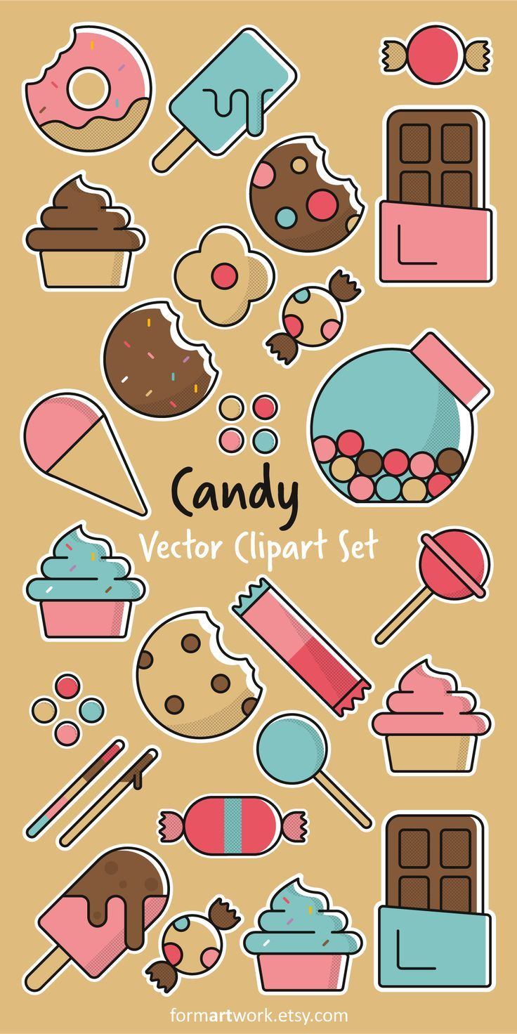 graphic royalty free download Clipart commercial use sweets. Vector candy dessert