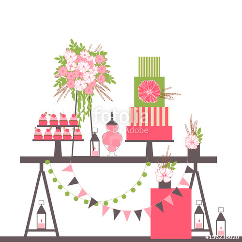 clip black and white library Vector candy dessert. Wedding bar with cake