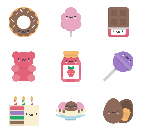 vector black and white  food icon packs. Vector candy kawaii